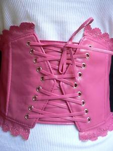 Women Belt Fashion Elastic Pink Wide Corset High Waist Stretch Flower Tie S M