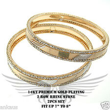 2pcs Beautiful Rhinestone Accented Yellow Gold Plated Bangle Bracelet FLBNG15522