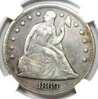 1869 Seated Liberty Silver Dollar $1 - Certified NGC XF Detail (EF) - Rare Date