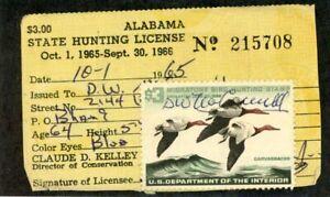 UNITED STATES--Duck Stamps on Licenses (Alabama) Scott #RW32