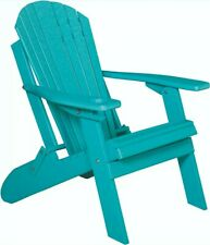 New listing Folding Adirondack Chair -Poly Lumber Wood *Aruba Blue* Color- Recycled Plastic