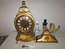 VINTAGE BUCHERER MANTEL CLOCK GOLD HAND PAINTED ROMAN WINDUP KEY WITH SHELF
