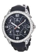 JACOB & CO MENS 47MM 9.00CT REAL DIAMOND CASE CUSTOM SET BLACK FACE 5 TIME ZONES