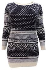 EX Yours BLACK Fair Isle Pattern Long Sleeve Soft Knit Christmas Jumper Dress
