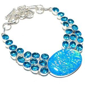 "Triplet Fire Opal, Blue Topaz Gemstone 925 Silver Jewelry Necklace 18"" AQ-240"