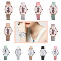 Fashion Pointer Womens Pineapple Alloy Faux Leather Round Analog Quartz Watch