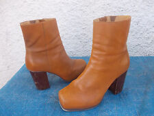 SPORTSGIRL TAN BROWN GENUINE LEATHER PLATORM ZIP UP LONG ANKLE BOOTS-SZ 9