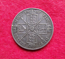 1887 Double Florin Four Shilling Victoria British .925 Silver Coin Arabic 1