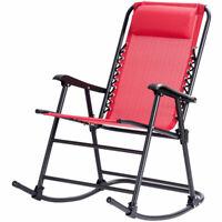 Goplus Folding Zero Gravity Rocking Chair Rocker w/Headrest Outdoor Patio Red