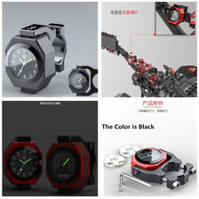 Black Motorcycle Luminous Clock+ Waterproof Temperature Alloy Gauge Cool Styling