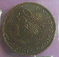 50 Francs 1953 B G Guiraud : TTB : pièce de monnaie Française N20