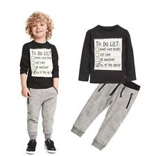 US 2Pcs Toddler Baby Boys Shirt + Pants Set Kids Clothes Sports  Outfits 120