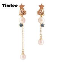 Timlee E152 Cute Shell Star Rhinestone Personality Long Drop Earring Accessory