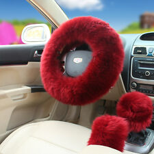 3Pcs Universal Australian Wool Long Fuzzy Auto Car Steering Wheel Cover Wine Red