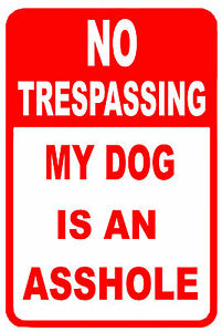 """NO trespassing beware of dog mean dog 12"""" x 8"""" Aluminum Sign made in USA"""