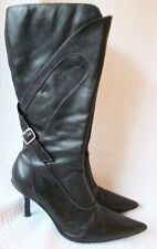 Kenneth Cole Reaction Sexy Black BOOTS Heels shoe Leather Womens Size 8.5