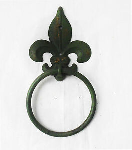 French Scroll Fleur de Lis Green Solid Cast Iron Hanging Towel Ring Home Decor