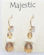 New! Gold tone Neutral tan/golden beaded Dangle Earrings Majestic