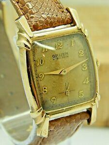 Vintage 10K gold filled Gruen Verithin 415-836 17 jewel art deco wrist watch