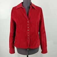 Live A Little Red Corduroy Button Front Collared Jacket Coat Womens L