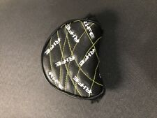 NEW Rife Mallet Putter Head Cover. Right Handed. Black w/ White Logo Yellow Trim