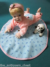 Moments Treasured Baby doll girl with blanket and shaking head puppy NIB,6 x 11