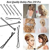 250 SECURE HOLD BLACK SLIDE ON HAIR GRIPS SALON CLAMP CLIP KIRBY BOBBY PINS NEW