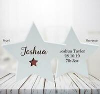 Personalised Star Christining Or New Baby Gift Wooden Freestanding Star