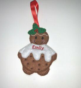 Handmade Personalised Christmas Pudding Pud Tree Decoration Gingerbread Man
