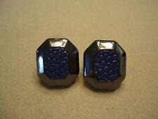 Vintage Black Gunmetal Cobalt Blue Faux Snake Skin Elegant Post Earrings