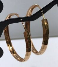 18k Solid Rose Gold Diamond Cut 1 Inch Hoop Earring