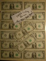 Eight Four Pairs of Star* Notes 8 Replacement Notes *Green Star* $1 FRNs