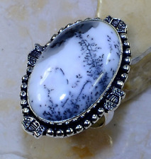 BEAUTIFUL NEW GENUINE HUGE 30 ×18 MM DENDRITIC OPAL RING  925 SILVER SIZE 8