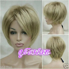 New sexy ladies wig short Golden Blonde Straight High quality Natural Hair wigs