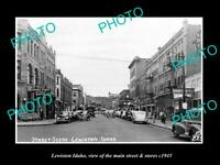 OLD POSTCARD SIZE PHOTO OF LEWISTON IDAHO THE MAIN STREET & STORES c1945