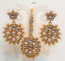 New Indian Bollywood Bridal Earring Tikka Jewellery Set Gold Plated Maangtikka