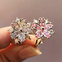 Fashion Romantic Pink Topaz Sakura Flower Wedding Ring Women Jewelry