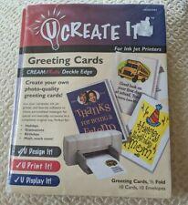 U CREATE IT! Greeting Cards CREAM/RUBY (RED) DECKLE EDGE Half-Fold 10 Pack #1