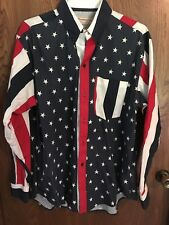 Vintage Southcross Mens Western Button Shirt cowboy cut  RED WHITE BLUE FLAG