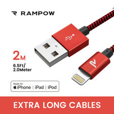 Rampow 2x 2m MFI Lightning USB Charger Cable Data Lead for iPhone 6s 8 X 7 iPad