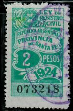 Argentina 1924 Revenue Ley de Registro Civil $2 (C-022)