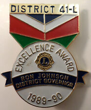 Lions Club Collectors Hat Lapel Pin District 41-L Excellence Award Governor