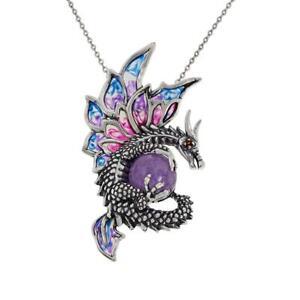 "Jade of Yesteryear 18"" Garnet and Lavender Jade Dragon Pendant Necklace"