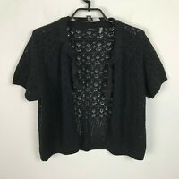 Tahari Cropped Cardigan Sweater Size L Black Open Front Womens Short Sleeve