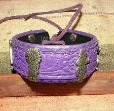 "Purple Leather Cuff Bracelet 7 3/8"" Vintage Red Shed Design Concho Handmade"