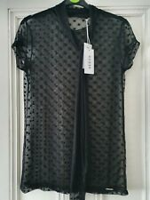 Guess ladies top sheer black blouse size medium about a 12 brand new with tags