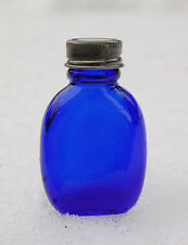 Tiny OVAL flask shaped DEEP COBALT BLUE color ANTIQUE PILL bottle w/cap