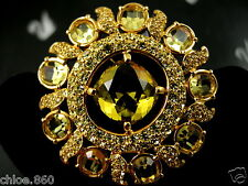 SIGNED SWAROVSKI GOLD PLATED YELLOW CITRINE CRYSTAL PIN ~ BROOCH RETIRED NEW