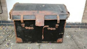 Victorian wicker steamer chest trunk with domed lid - for complete restoration