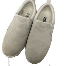 Lands End Women's Size 6B  slip on all weather moc suede shoes Ivory
